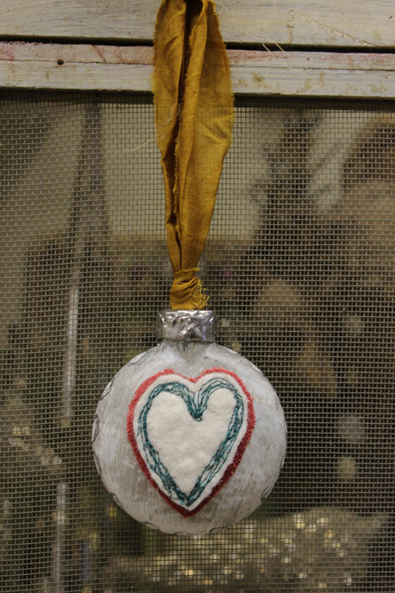 Heart glass ornament 2 full view
