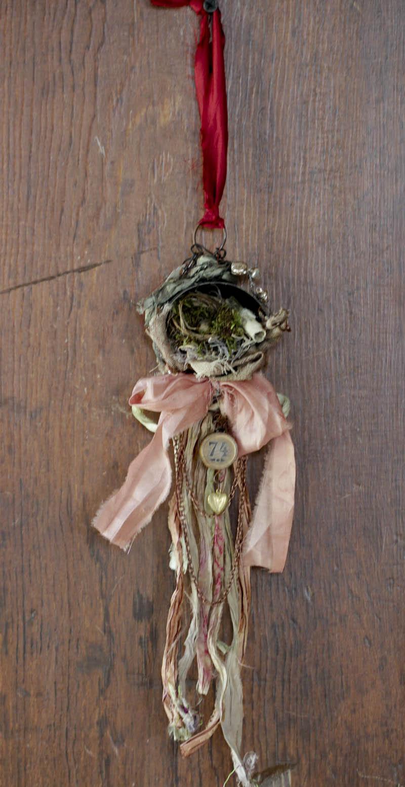 JOY metal xmas ornament full view