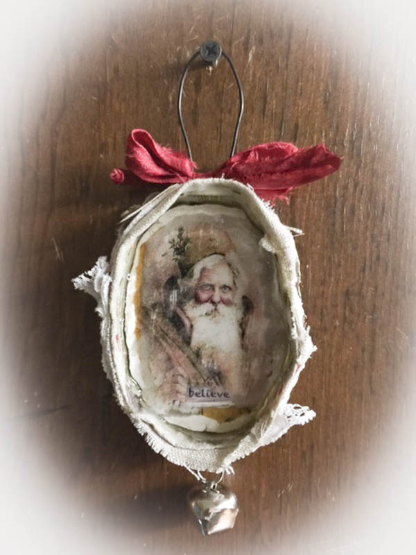 Believe santa ornament redo