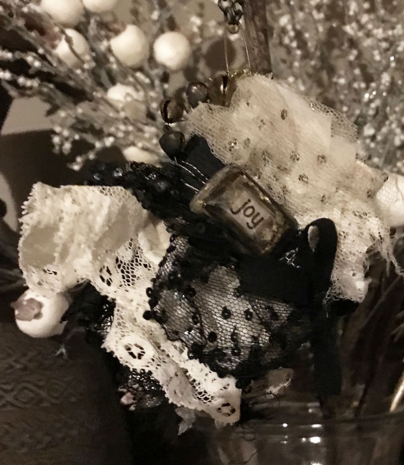 Joy black dress ornament