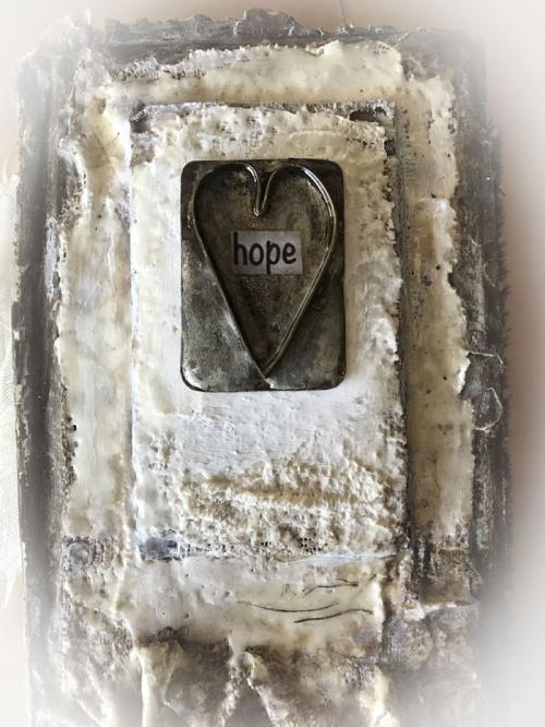Hope plaster book close up